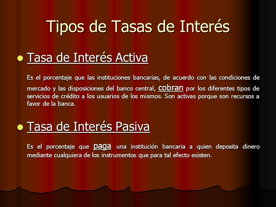 Tipos de Tasas de Interés