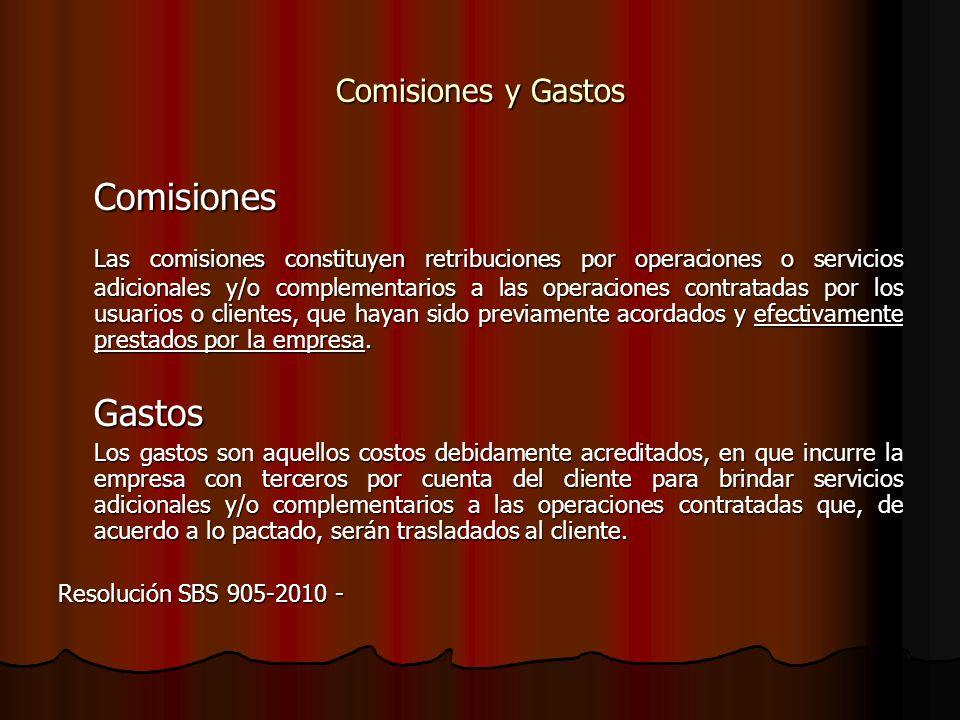 Comisiones y Gastos Comisiones.