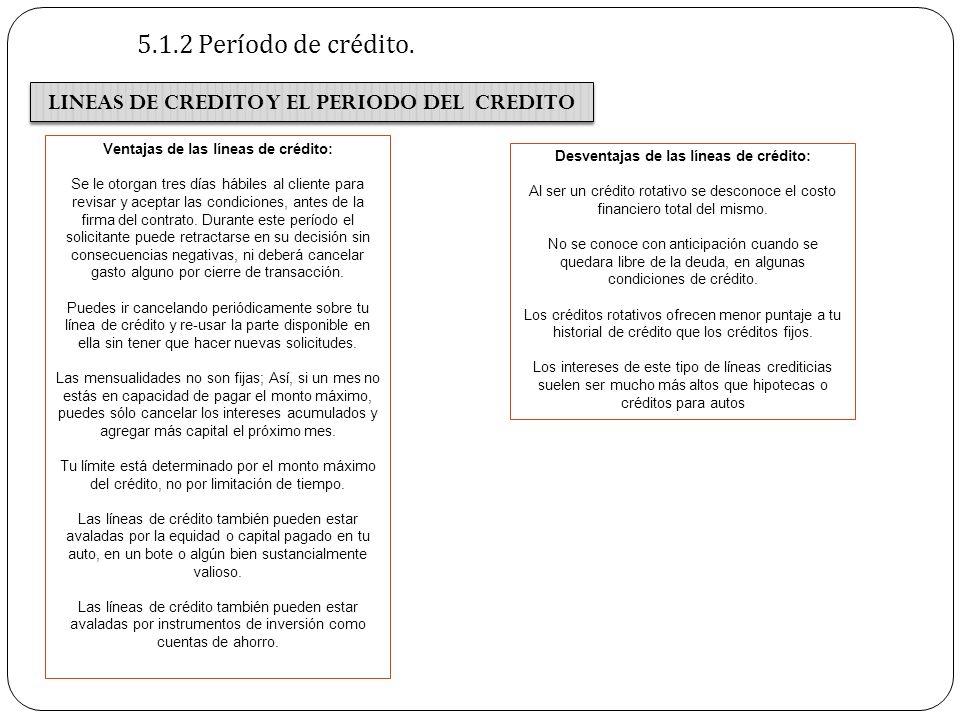 5.1.2 Período de crédito. LINEAS DE CREDITO Y EL PERIODO DEL CREDITO