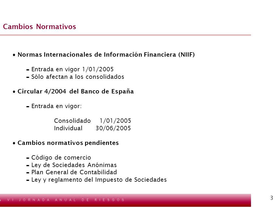 Cambios NormativosNormas Internacionales de Información Financiera (NIIF) Entrada en vigor 1/01/2005.