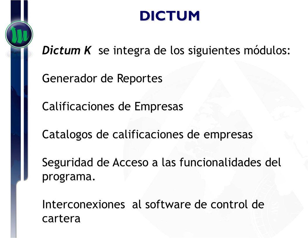 DICTUM Dictum K se integra de los siguientes módulos: