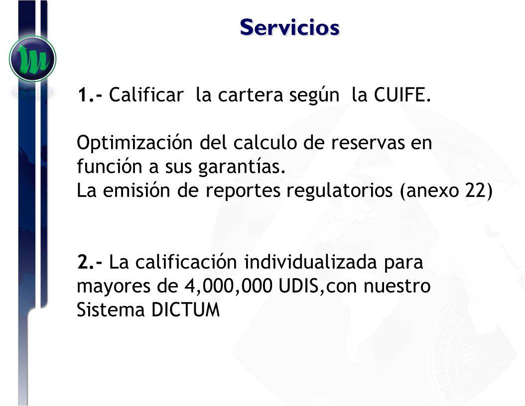Servicios 1.- Calificar la cartera según la CUIFE.