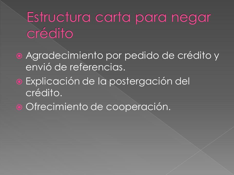 Estructura carta para negar crédito