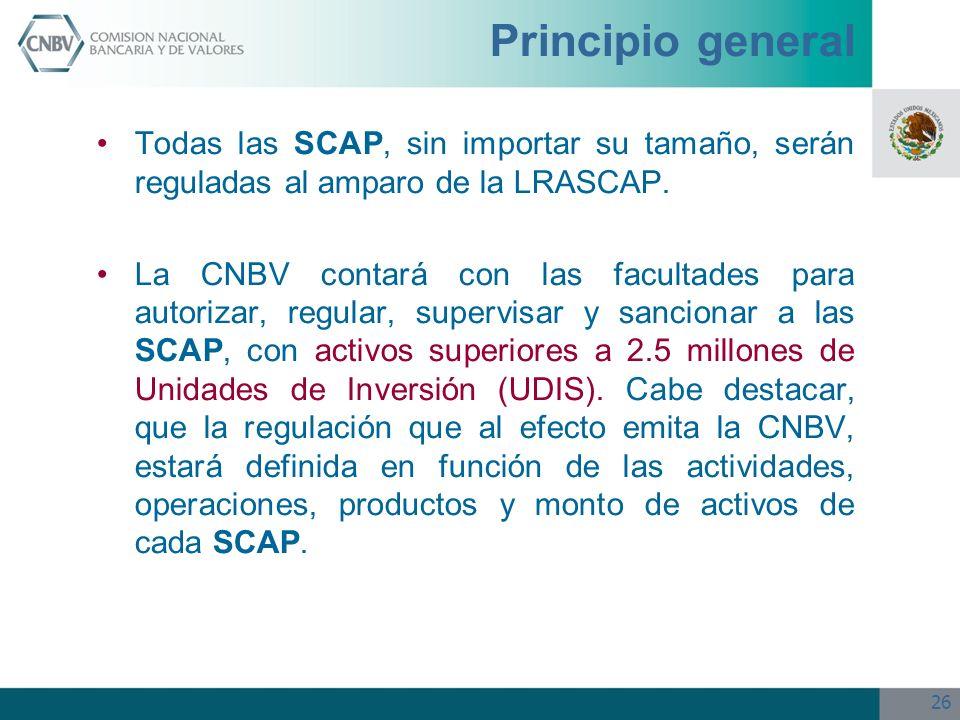 Principio general Todas las SCAP, sin importar su tamaño, serán reguladas al amparo de la LRASCAP.