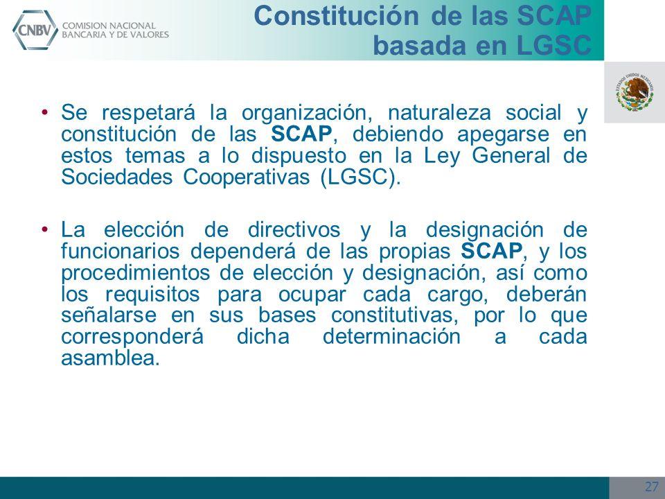 Constitución de las SCAP basada en LGSC