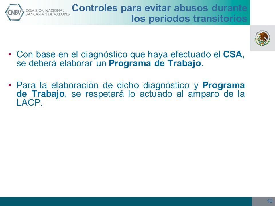Controles para evitar abusos durante los periodos transitorios