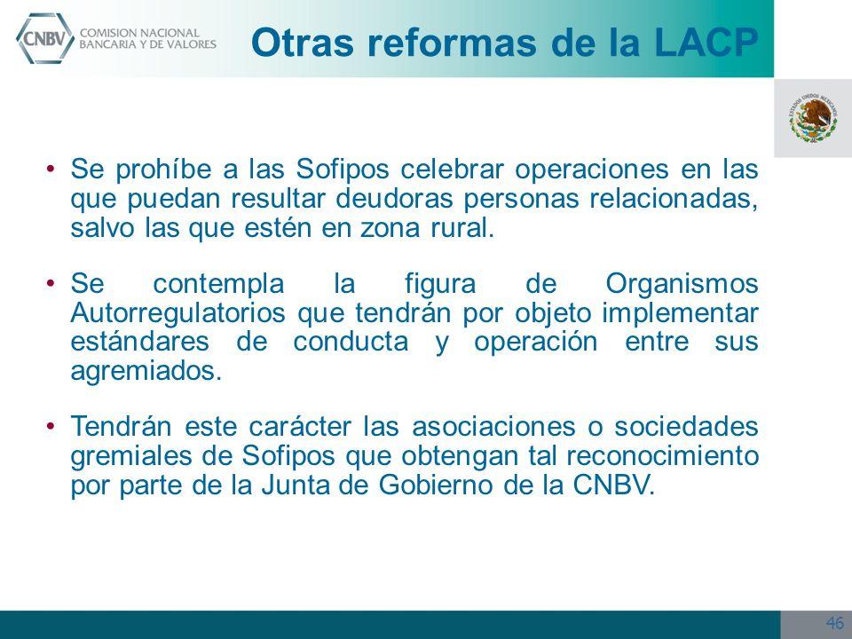 Otras reformas de la LACP