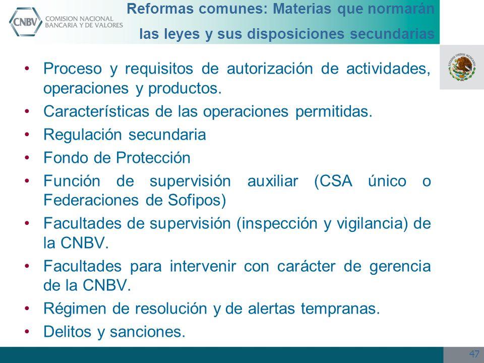 Características de las operaciones permitidas. Regulación secundaria