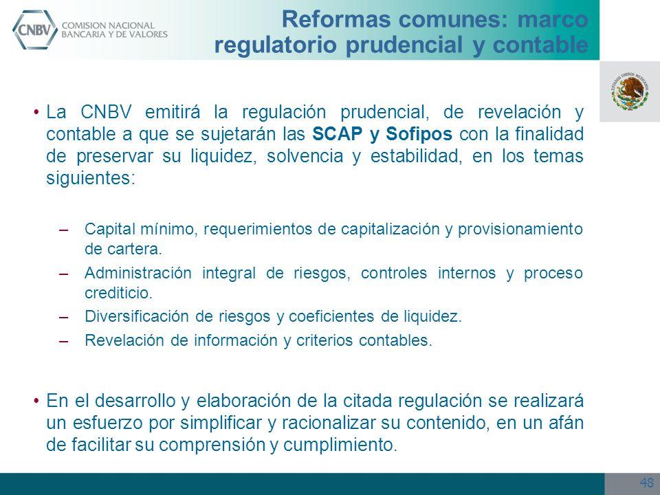 Reformas comunes: marco regulatorio prudencial y contable