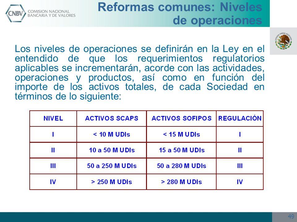 Reformas comunes: Niveles de operaciones