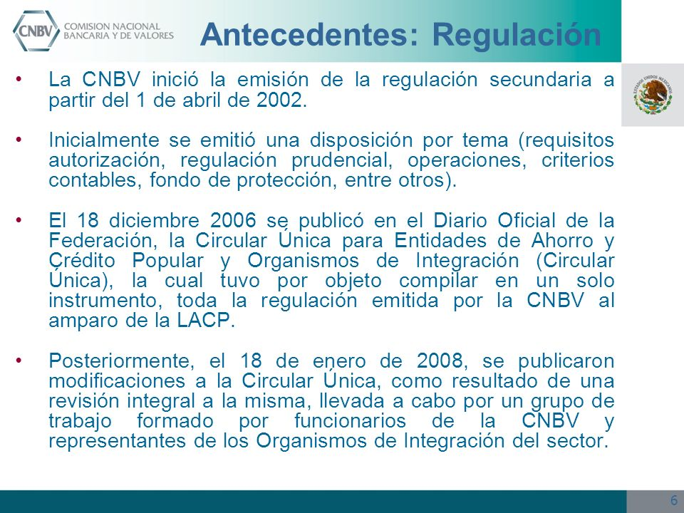 Antecedentes: Regulación