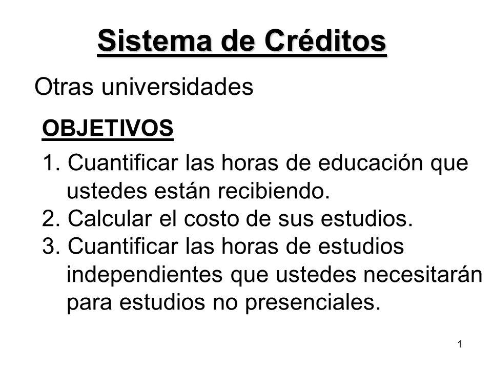 Sistema de Créditos Otras universidades OBJETIVOS