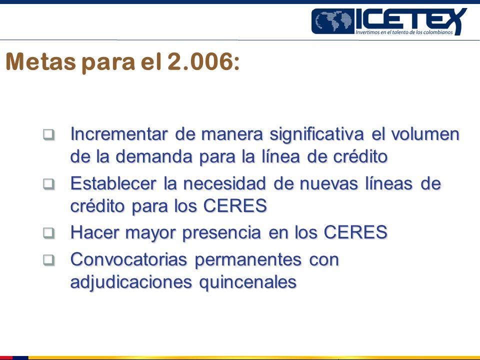 Metas para el 2.006: Incrementar de manera significativa el volumen de la demanda para la línea de crédito.