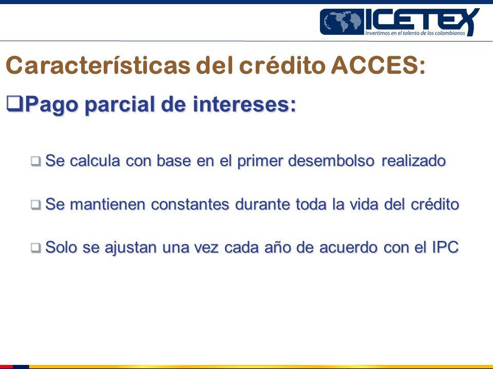 Características del crédito ACCES: