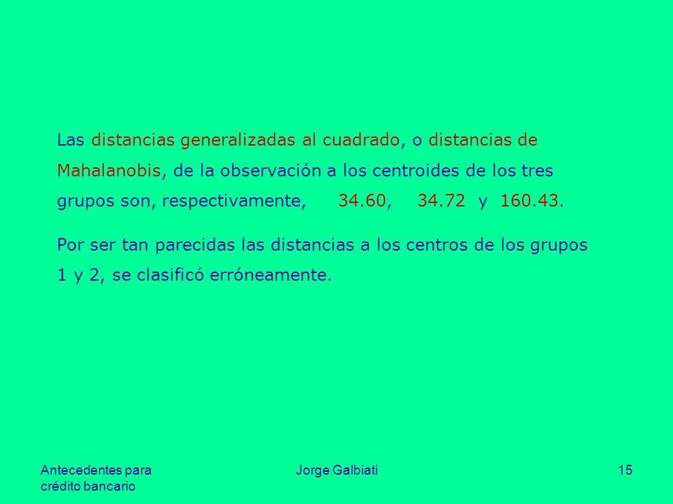 Las distancias generalizadas al cuadrado, o distancias de Mahalanobis, de la observación a los centroides de los tres grupos son, respectivamente, 34.60, 34.72 y 160.43.