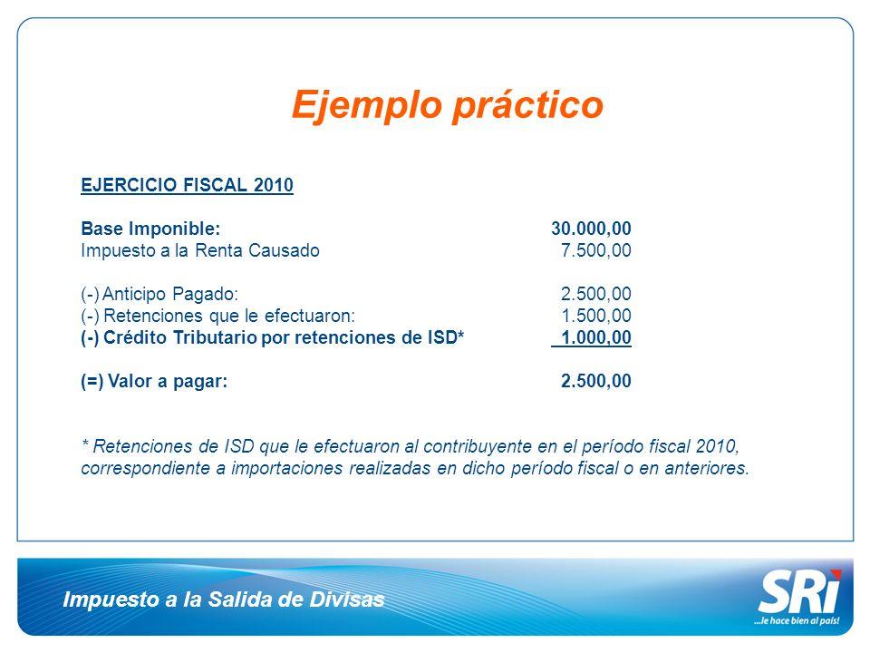 Ejemplo práctico Impuesto a la Salida de Divisas EJERCICIO FISCAL 2010