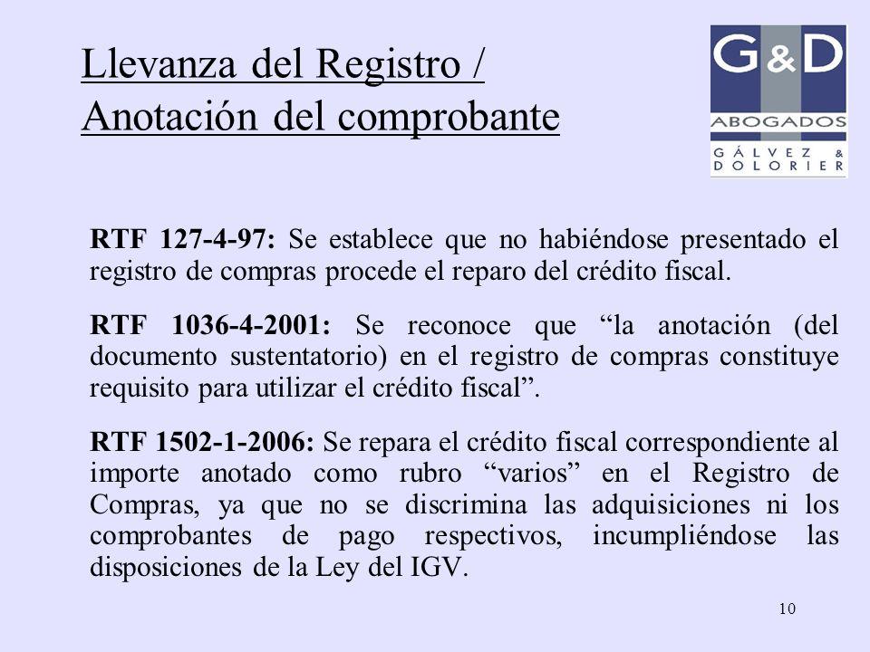 Llevanza del Registro / Anotación del comprobante