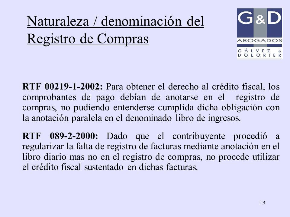 Naturaleza / denominación del Registro de Compras
