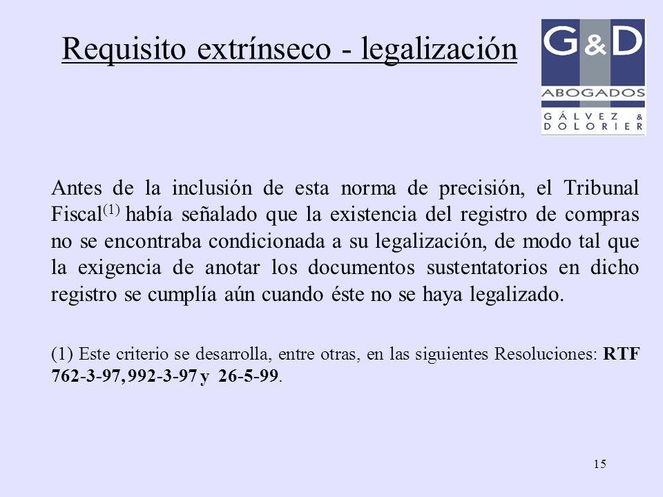 Requisito extrínseco - legalización