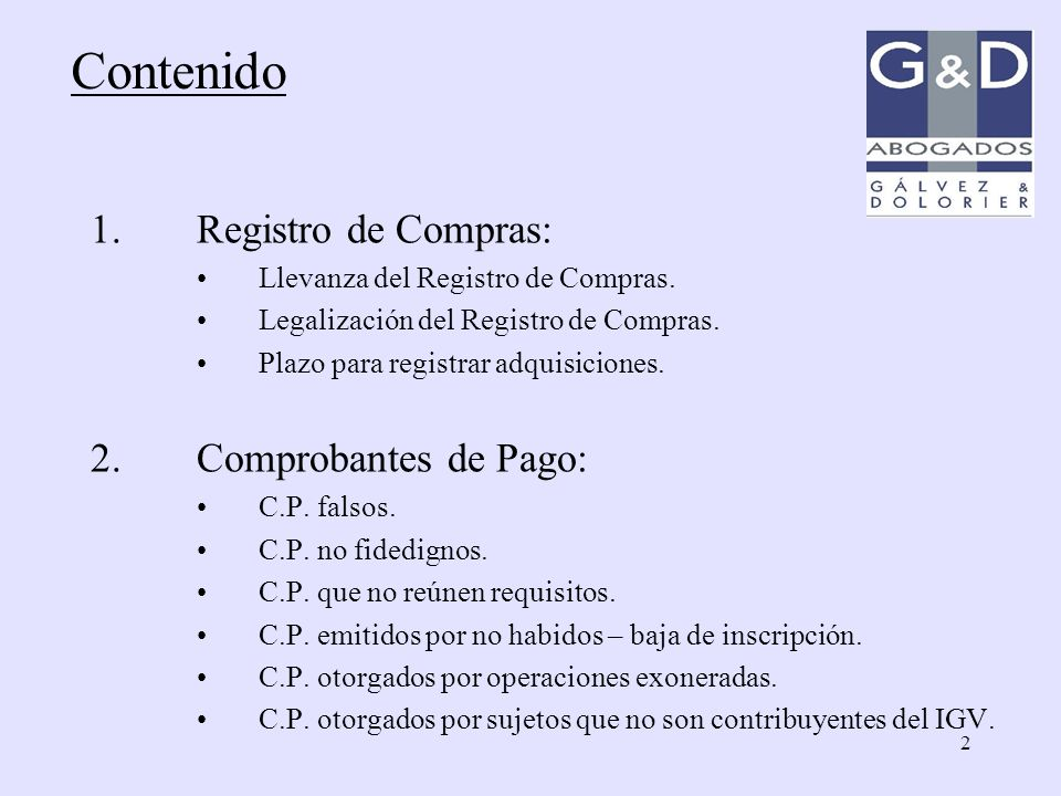 Contenido Registro de Compras: Comprobantes de Pago: