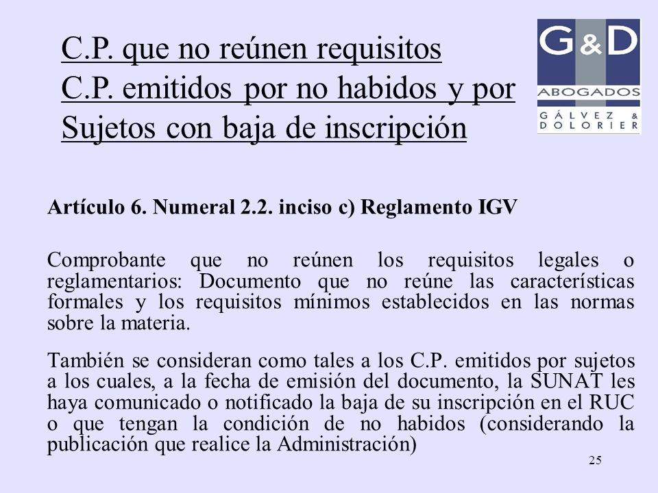 C.P. que no reúnen requisitos C.P. emitidos por no habidos y por
