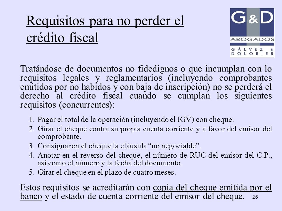 Requisitos para no perder el crédito fiscal