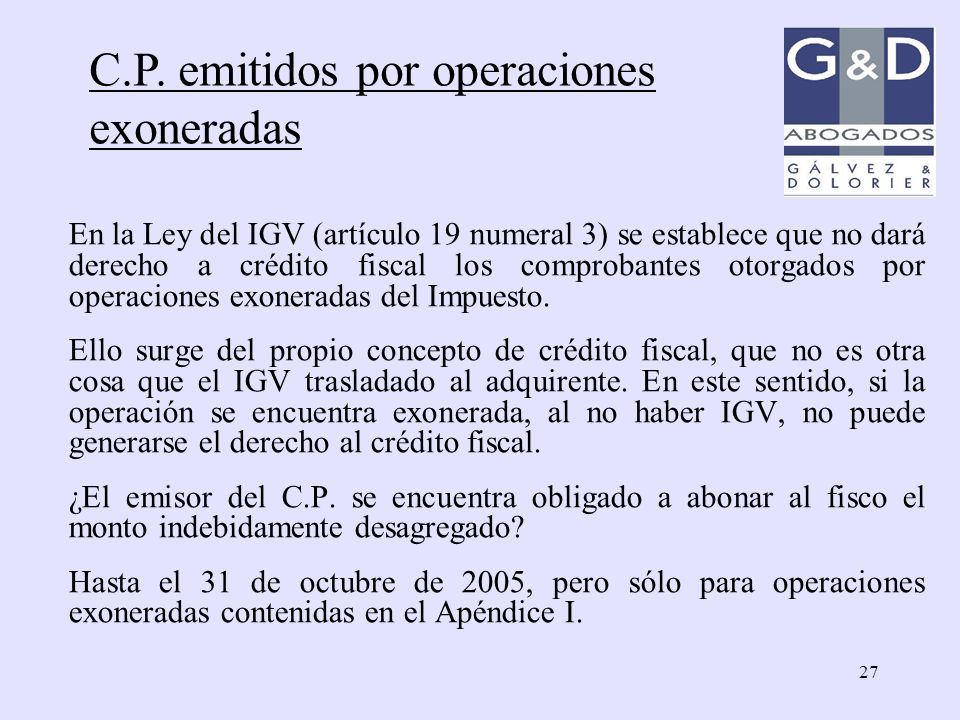 C.P. emitidos por operaciones exoneradas