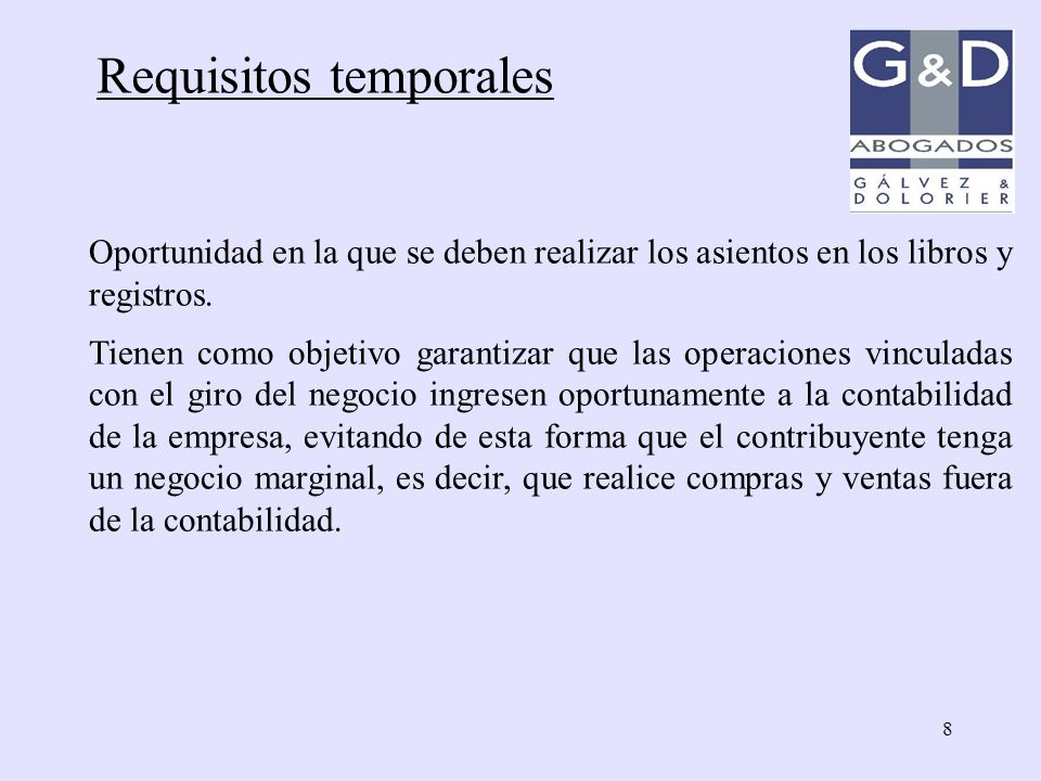 Requisitos temporales