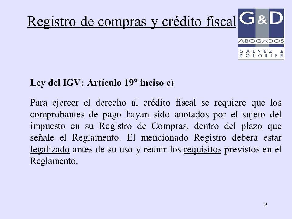 Registro de compras y crédito fiscal