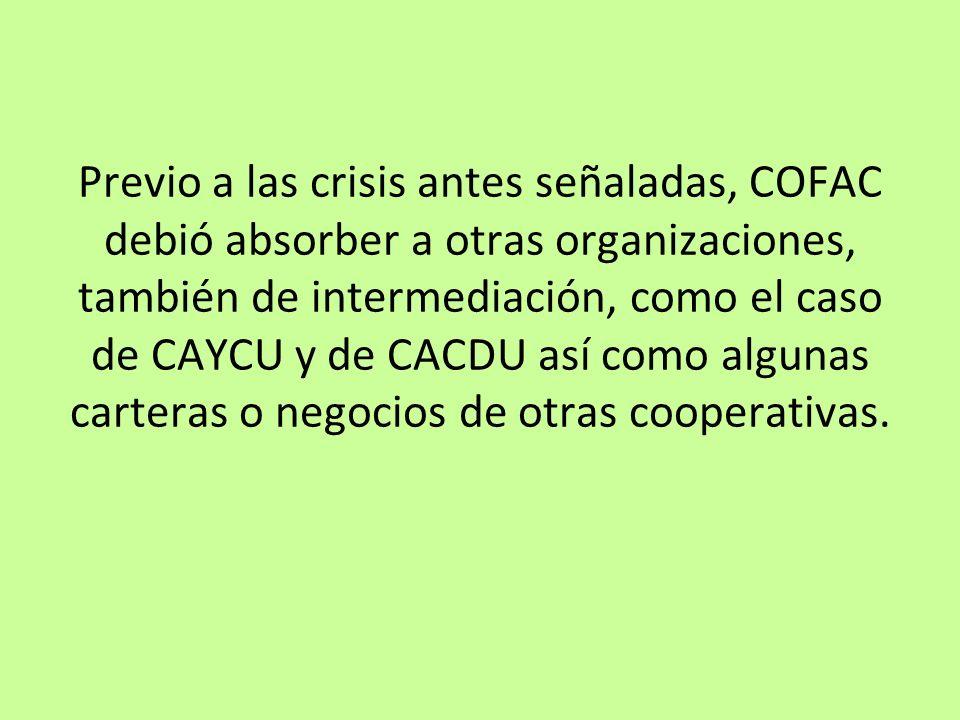 Previo a las crisis antes señaladas, COFAC debió absorber a otras organizaciones, también de intermediación, como el caso de CAYCU y de CACDU así como algunas carteras o negocios de otras cooperativas.