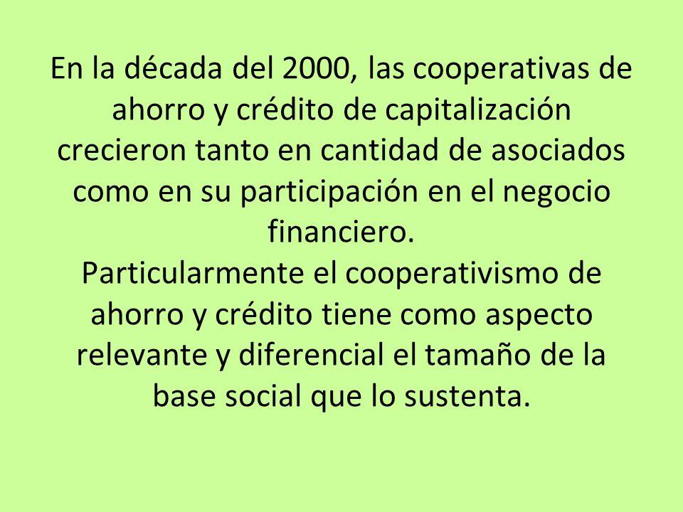 En la década del 2000, las cooperativas de ahorro y crédito de capitalización crecieron tanto en cantidad de asociados como en su participación en el negocio financiero.