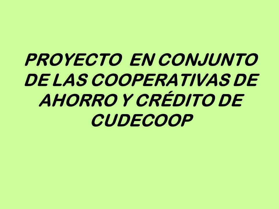 PROYECTO EN CONJUNTO DE LAS COOPERATIVAS DE AHORRO Y CRÉDITO DE CUDECOOP