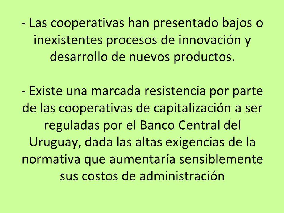 - Las cooperativas han presentado bajos o inexistentes procesos de innovación y desarrollo de nuevos productos.