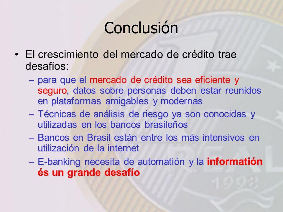 Conclusión El crescimiento del mercado de crédito trae desafíos: