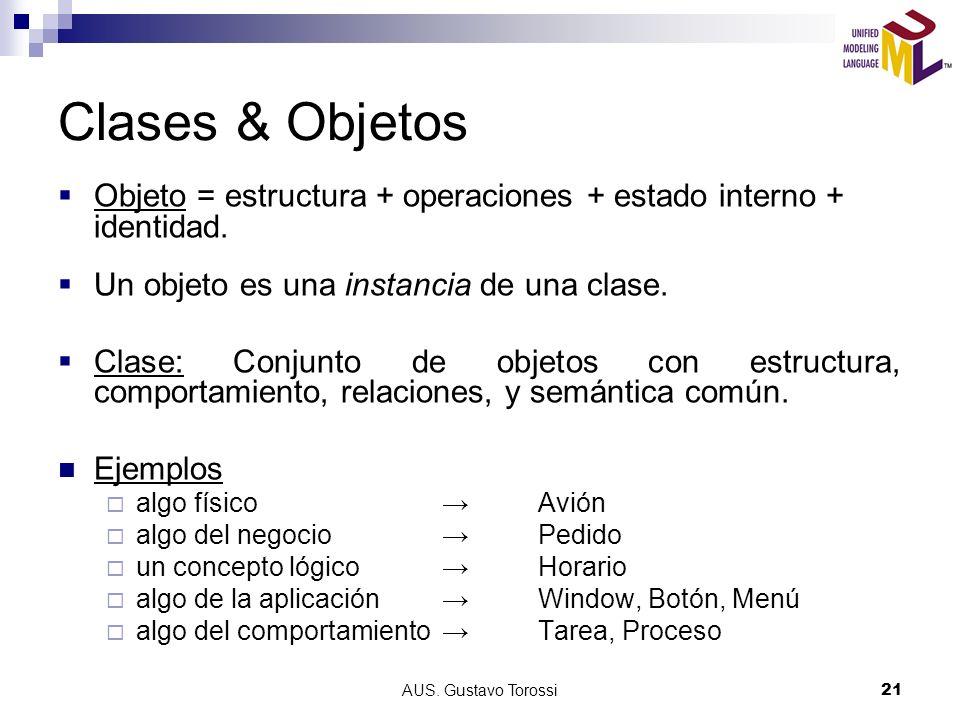 Clases & Objetos Objeto = estructura + operaciones + estado interno + identidad. Un objeto es una instancia de una clase.