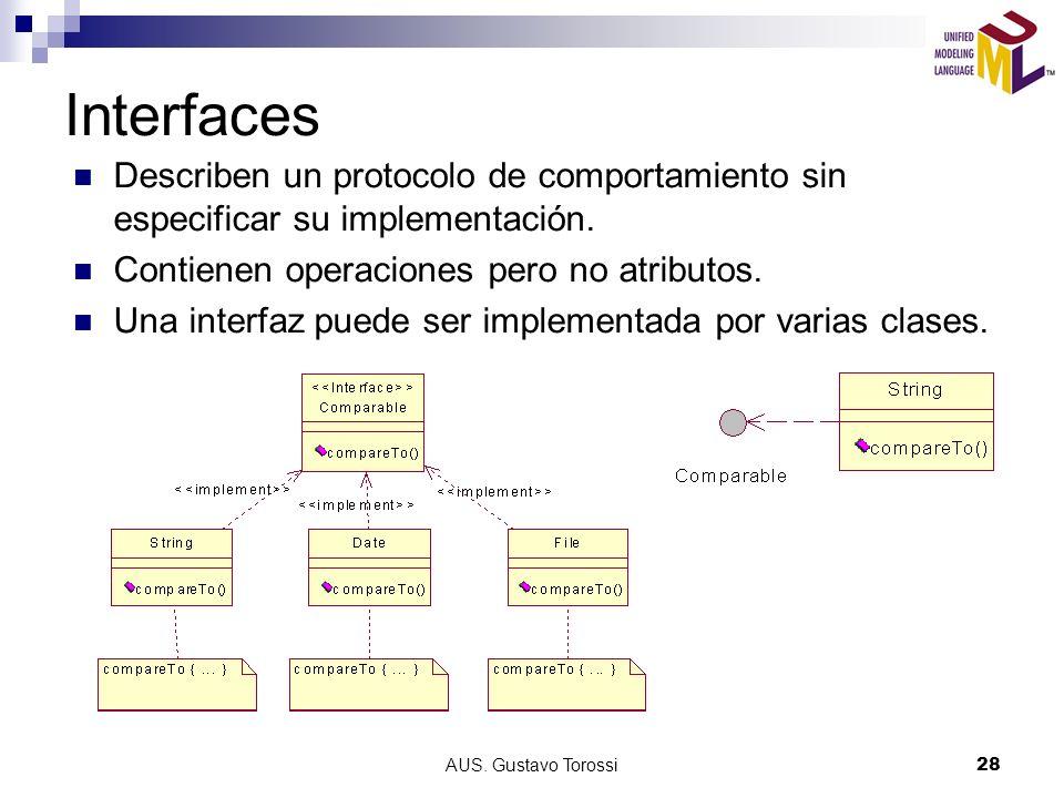 Interfaces Describen un protocolo de comportamiento sin especificar su implementación. Contienen operaciones pero no atributos.