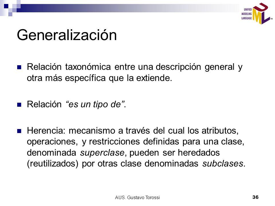 Generalización Relación taxonómica entre una descripción general y otra más específica que la extiende.