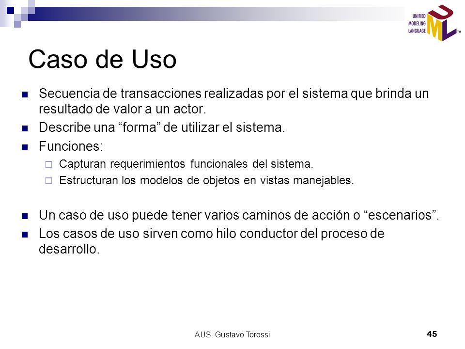 Caso de Uso Secuencia de transacciones realizadas por el sistema que brinda un resultado de valor a un actor.