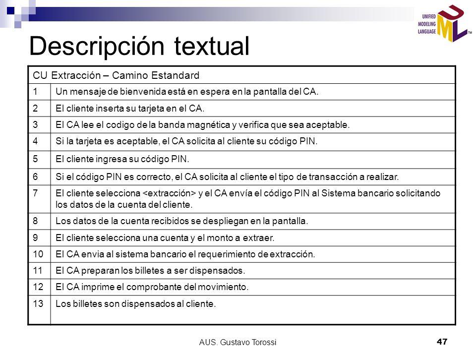 Descripción textual CU Extracción – Camino Estandard 1