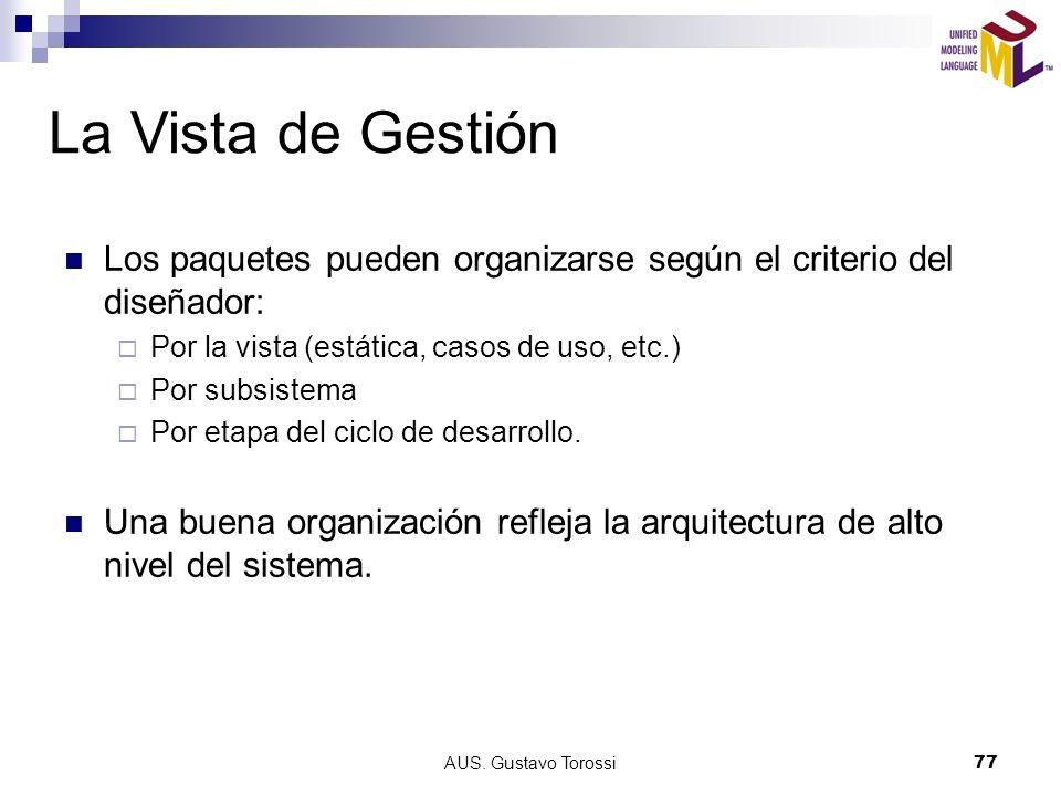 La Vista de Gestión Los paquetes pueden organizarse según el criterio del diseñador: Por la vista (estática, casos de uso, etc.)