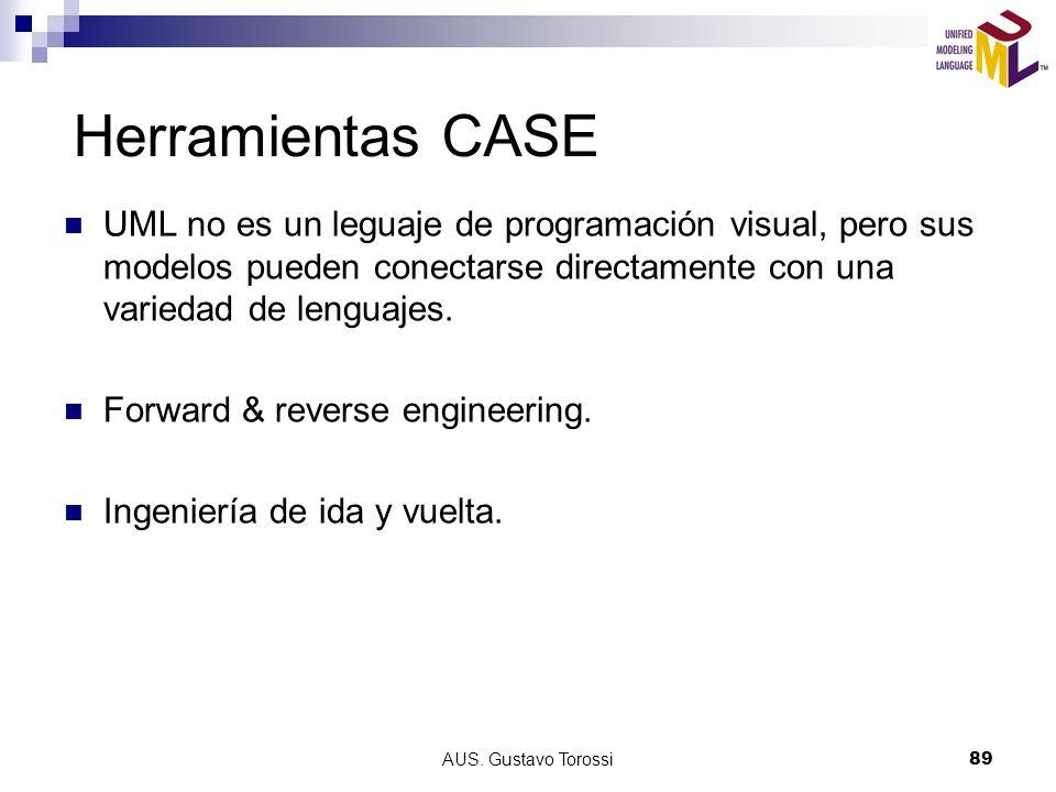 Herramientas CASE UML no es un leguaje de programación visual, pero sus modelos pueden conectarse directamente con una variedad de lenguajes.