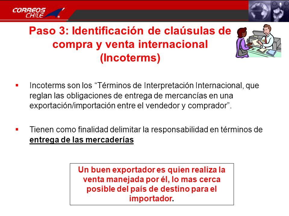 Paso 3: Identificación de claúsulas de compra y venta internacional (Incoterms)