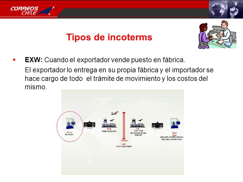 Tipos de incoterms EXW: Cuando el exportador vende puesto en fábrica.