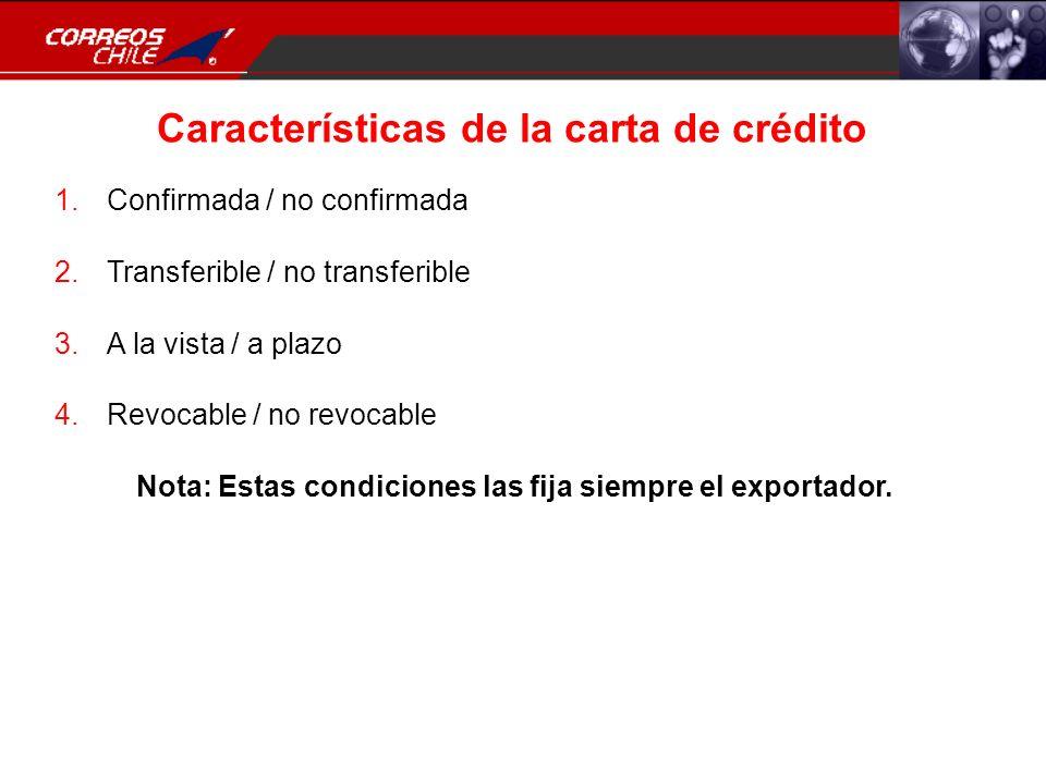 Características de la carta de crédito