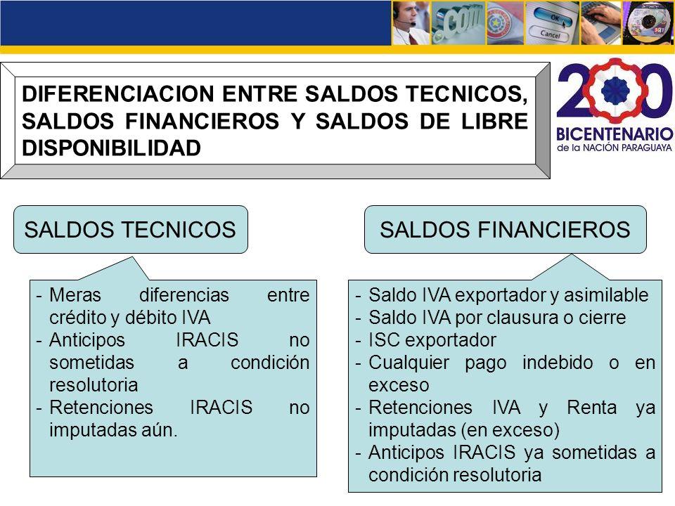 DIFERENCIACION ENTRE SALDOS TECNICOS, SALDOS FINANCIEROS Y SALDOS DE LIBRE DISPONIBILIDAD