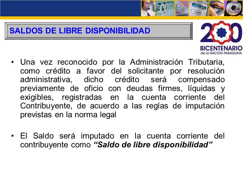 SALDOS DE LIBRE DISPONIBILIDAD