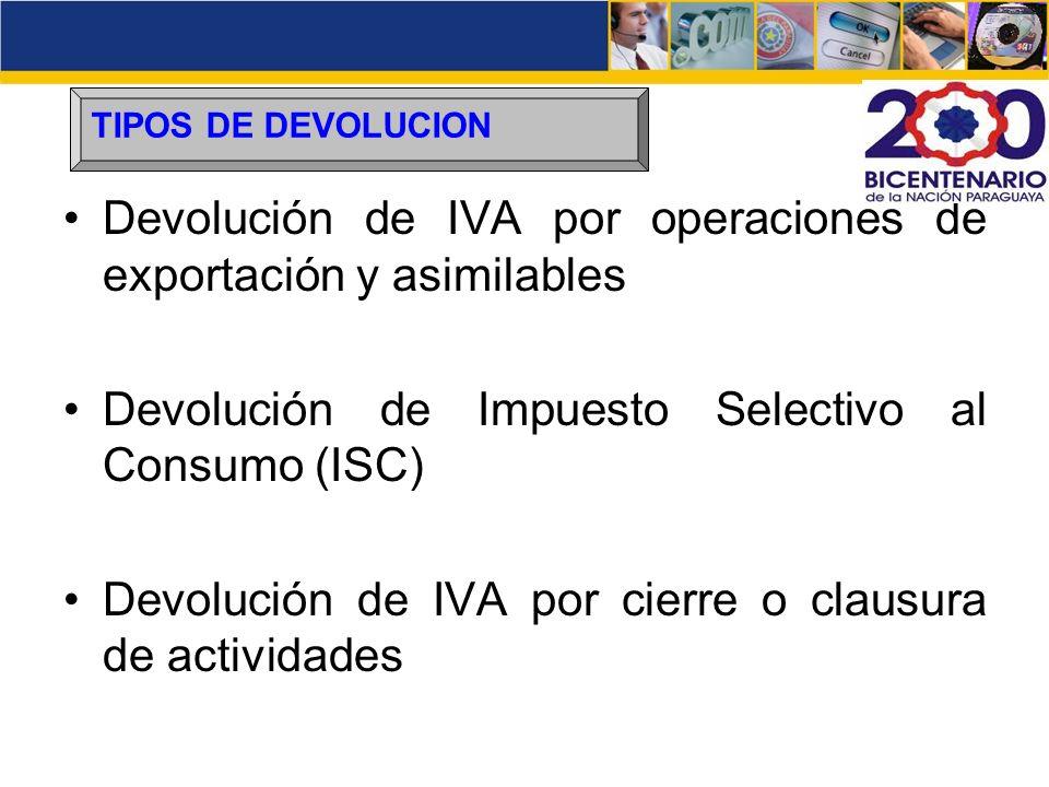 Devolución de IVA por operaciones de exportación y asimilables