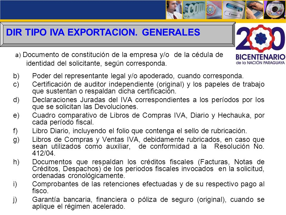 DIR TIPO IVA EXPORTACION. GENERALES