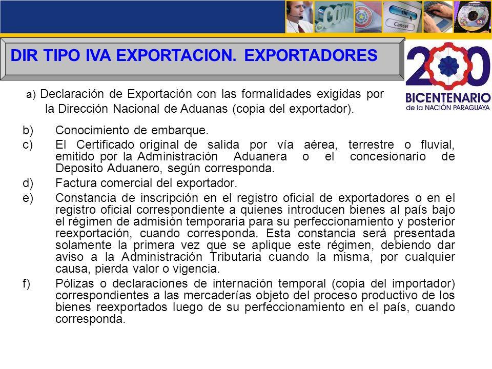 DIR TIPO IVA EXPORTACION. EXPORTADORES