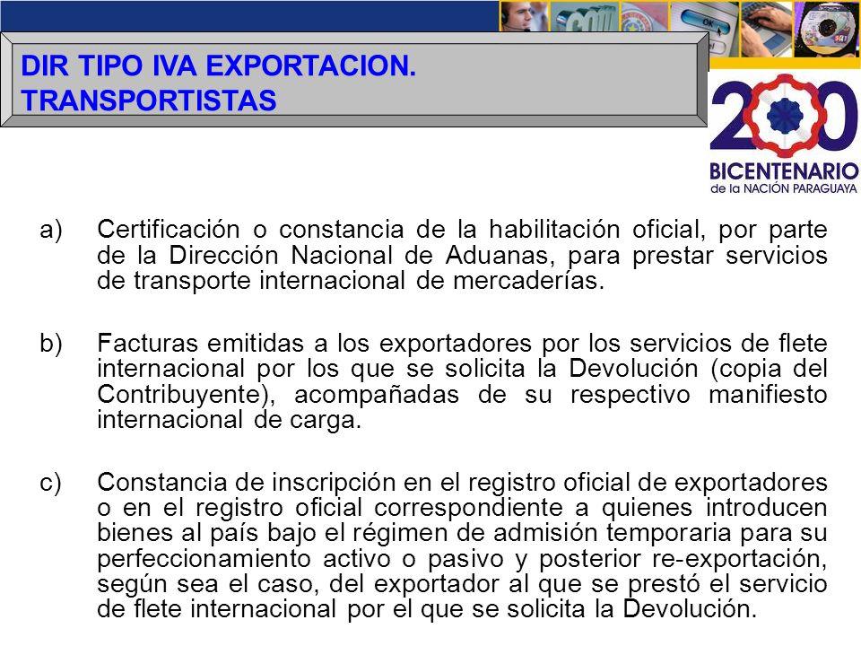 DIR TIPO IVA EXPORTACION. TRANSPORTISTAS